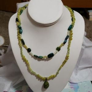 Hand made double layer jade necklace unite pendant